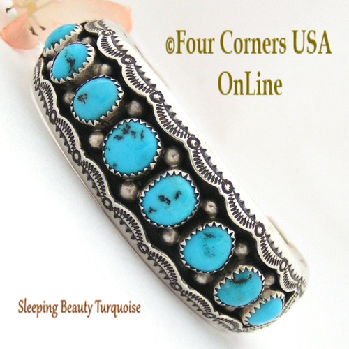 Sleeping Beauty Turquoise Cuff Bracelet Wilbert Muskett Navajo Silver Jewelry NAC-1434 Four Corners USA OnLine