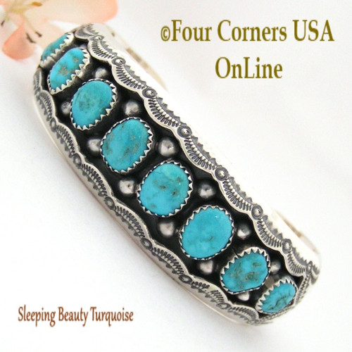 Sleeping Beauty Turquoise Shadow Box Cuff Bracelet Wilbert Muskett NAC-1436 Four Corners USA OnLine Native American Jewelry