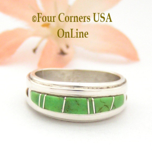Size 6 1/2 Gaspeite Inlay Ring Native American Wilbert Muskett Jr WB-1666 Four Corners USA OnLine Navajo Sterling Silver Jewelry