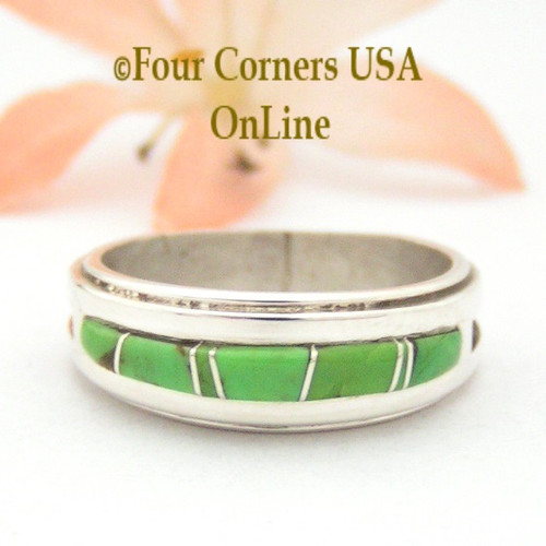Size 8 Gaspeite Inlay Ring Native American Wilbert Muskett Jr WB-1669 Four Corners USA OnLine Navajo Sterling Silver Jewelry