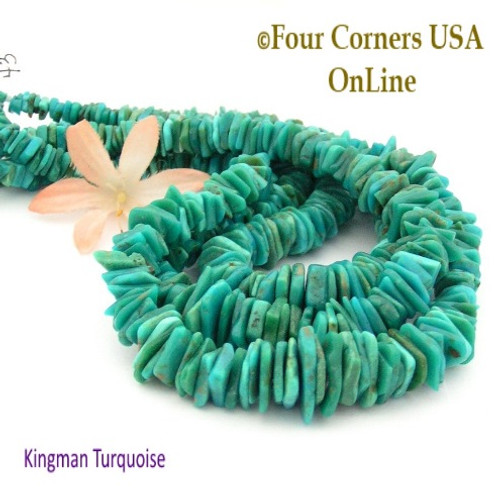 14mm Graduated FreeForm Slice Kingman Turquoise Beads Designer 16 Inch Strand Jewelry Making Supplies GFF43 Four Corners USA OnLine