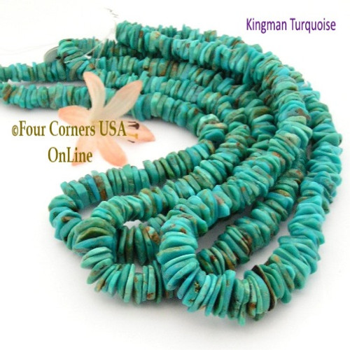 On Sale Now! 13mm Graduated FreeForm Slice Kingman Turquoise Beads Designer 16 Inch Strand Jewelry Making Supplies GFF44 Four Corners USA OnLine