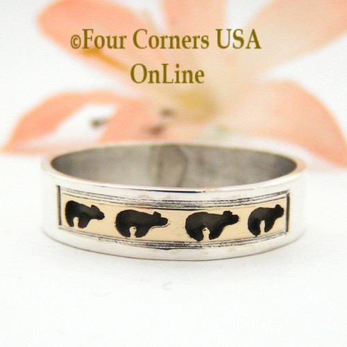 Size 9 3/4 Ring 14K Gold and Sterling Bear Wedding Band Style Navajo Scott Skeets NAR-1577 Four Corners USA OnLine