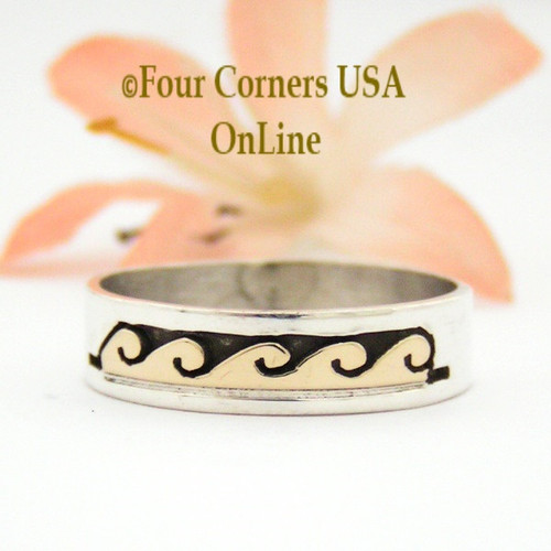 Size 9 3/4 Ring 14K Gold and Silver Wave Water Symbol Wedding Band Style Navajo Scott Skeets NAR-1595 Four Corners USA OnLine