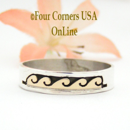 Size 12 1/2 Ring 14K Gold and Silver Wave Water Symbol Wedding Band Style Navajo Scott Skeets NAR-1601 Four Corners USA OnLine