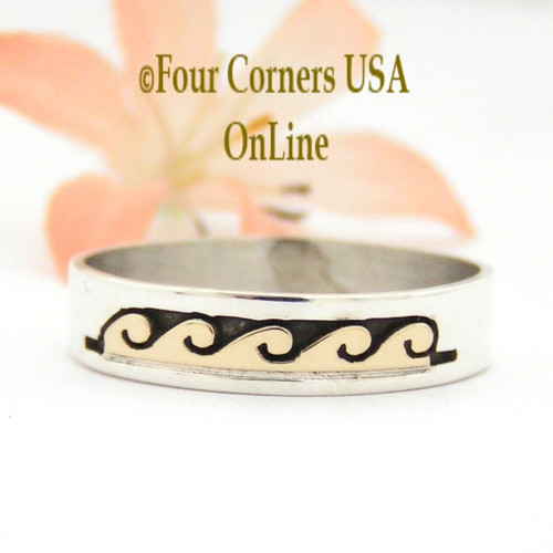 Size 13 1/2 Ring 14K Gold and Silver Wave Water Symbol Wedding Band Style Navajo Scott Skeets NAR-1603 Four Corners USA OnLine