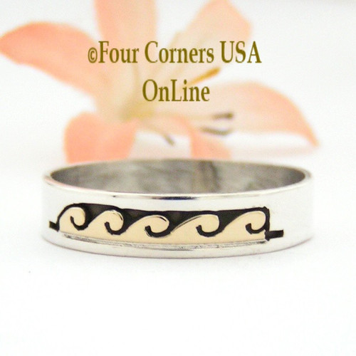 Size 14 Ring 14K Gold and Silver Wave Water Symbol Wedding Band Style Navajo Scott Skeets NAR-1604 Four Corners USA OnLine