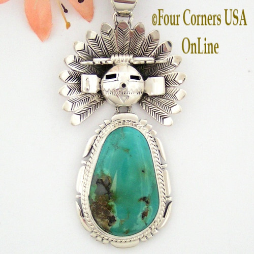 Large SunFace Kachina Royston Turquoise Pendant Navajo Artisan Freddy Charley NAP-1513 Four Corners USA OnLine Native American Jewelry