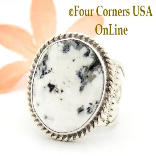 Size 10 1/2 White Buffalo Turquoise Ring Navajo Freddy Charley and Tony Garcia American Indian Silver Jewelry NAR-1615 Four Corners USA OnLine