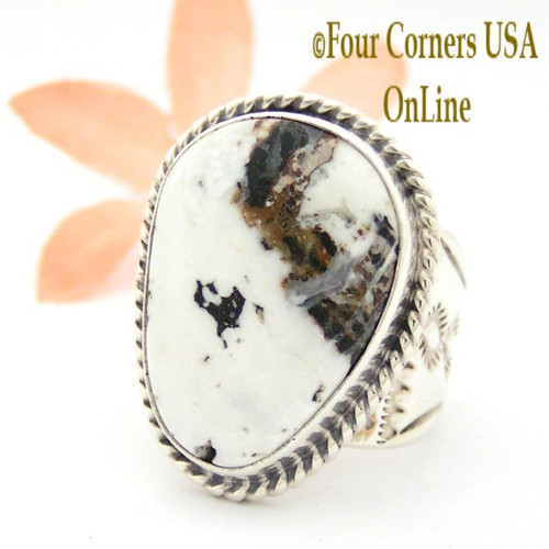 On Sale Now Size 9 White Buffalo Turquoise Ring NAR-1623 Navajo Freddy Charley and Tony Garcia Four Corners USA OnLine Native American Silver Jewelry