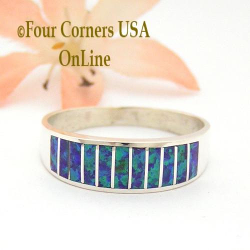 Size 12 Purple Fire Opal Inlay Navajo Wedding Band Ring Ella Cowboy WB-1671 Four Corners USA OnLine Native American Jewelry