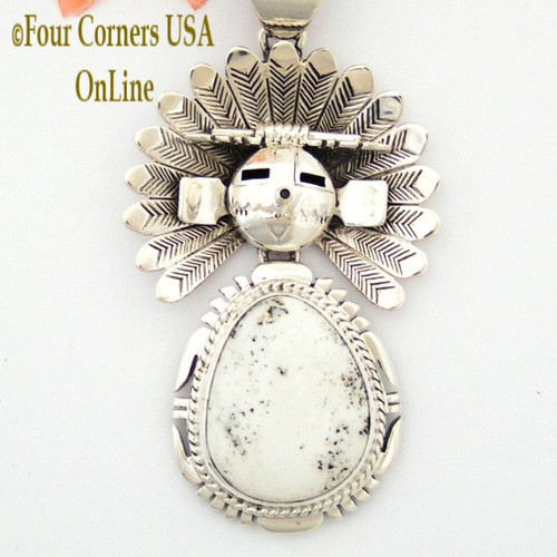 Kachina White Buffalo Turquoise Movable Sun Pendant Navajo Artisan Freddy Charley NAP-1512 Four Corners USA OnLine Native American Jewelry