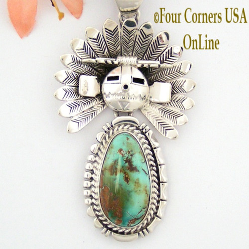 Kachina Royston Turquoise Sun Movable Pendant Navajo Artisan Freddy Charley NAP-1514 Four Corners USA OnLine Native American Jewelry