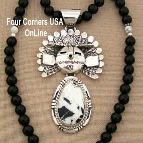Movable SunFace Kachina White Buffalo Turquoise Pendant 18 Inch Bead Necklace Navajo Artisan Freddy Charley NAN-11402 Four Corners USA OnLine Native American Jewelry