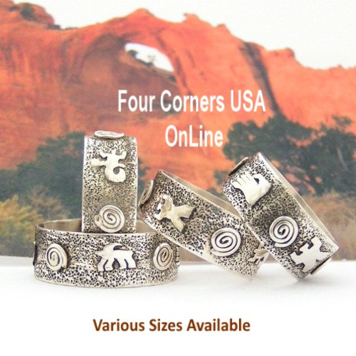 Sizes 7 to 13 Petroglyph Sterling Silver Band Ring Navajo Scott Skeets NAR-1626 Special Buy Final Sale