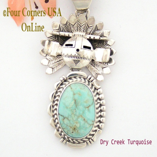 Dry Creek Turquoise Movable Sun Kachina Pendant Navajo Artisan Freddy Charley NAP-1517 On Sale Now at Four Corners USA OnLine Authentic American Indian Jewelry
