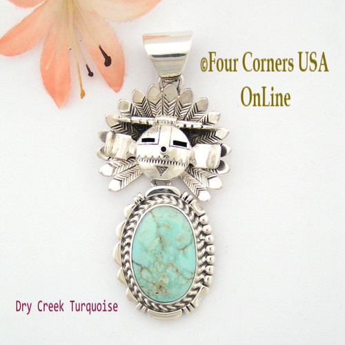 Dry Creek Turquoise Movable Sun Kachina Pendant Navajo Artisan Freddy Charley NAP-1517 Four Corners USA OnLine Authentic American Indian Jewelry