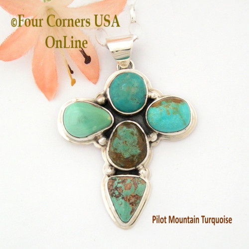 Pilot Mountain Turquoise Stone Sterling Cross Sampson Jake On Sale Now Four Corners USA OnLine Native American Silver Jewelry NACR-1417