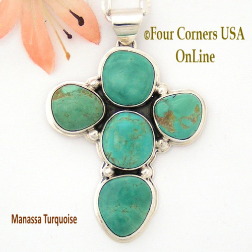 On Sale Now Colorado Manassa Turquoise Stone Sterling Cross Sampson Jake Four Corners USA OnLine Native American Silver Jewelry NACR-1418