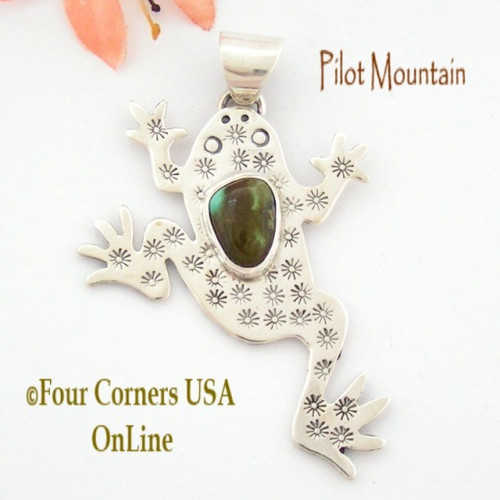 Pilot Mountain Turquoise Sterling Frog F.r.o.g. Pendant Navajo Artisan Tony Garcia On Sale Now NAP-1518 Four Corners USA OnLine Native American TQ Silver Jewelry