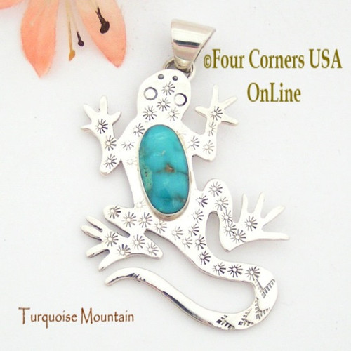 Turquoise Mountain Turquoise Sterling Gecko Lizard Pendant Navajo Artisan Tony Garcia NAP-1525 Four Corners USA OnLine Native American Silver TQ Jewelry