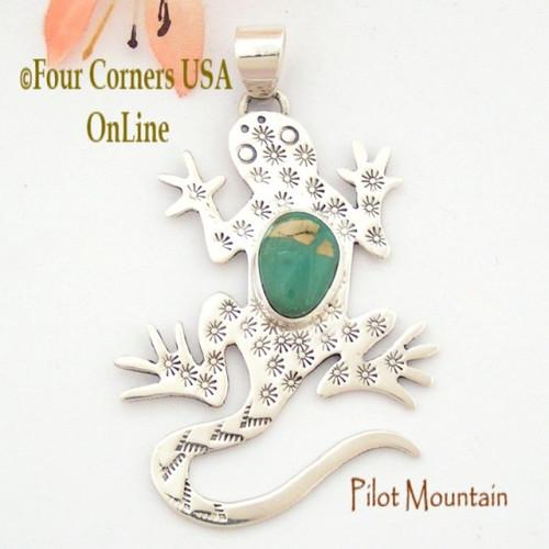Pilot Mountain Turquoise Sterling Lizard Gecko Pendant Navajo Artisan Tony Garcia NAP-1526 Four Corners USA OnLine Native American TQ Silver Jewelry