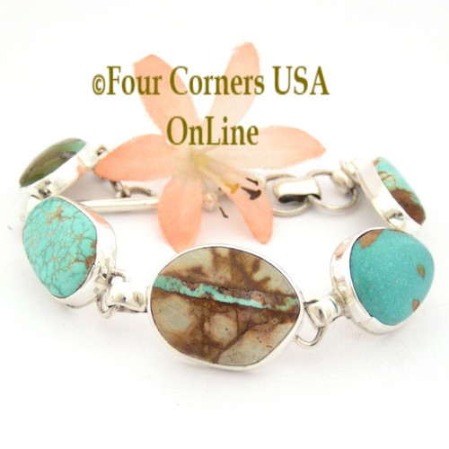 Royston No 8 Boulder Pilot Mountain Crow Spring Turquoise Sterling Link Bracelet Navajo Artisan Tony Garcia NALB-1417 Four Corners USA OnLine Fine Native American Silver Jewelry