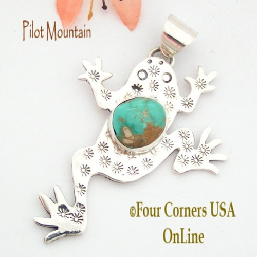 Pilot Mountain Turquoise Sterling Frog F.r.o.g. Pendant Navajo Artisan Tony Garcia NAP-1520 Four Corners USA OnLine Native American Silver TQ Jewelry