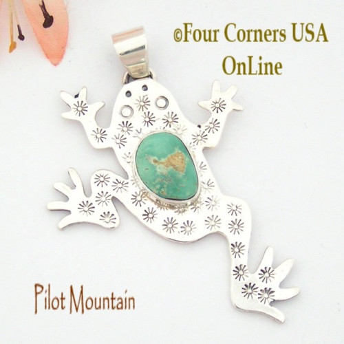 Pilot Mountain Turquoise Sterling Frog F.r.o.g. Pendant Navajo Artisan Tony Garcia NAP-1521 Four Corners USA OnLine Native American TQ Jewelry