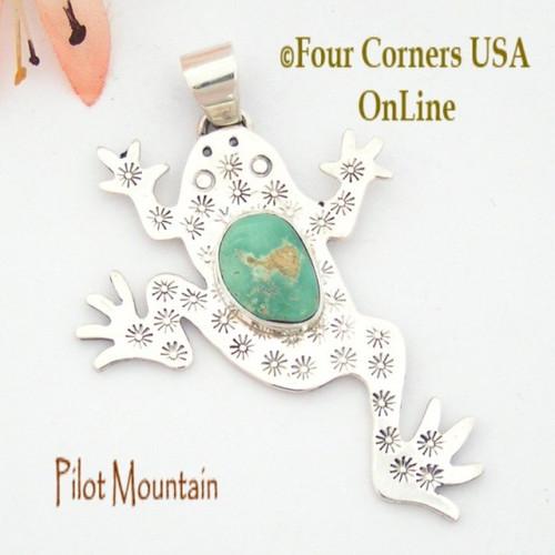 Pilot Mountain Turquoise Sterling Frog F.r.o.g. Pendant Navajo Artisan Tony Garcia NAP-1521 Four Corners USA OnLine Native American TQ Jewelry