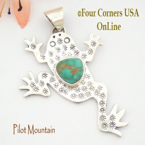 Pilot Mountain Turquoise Sterling Frog F.r.o.g. Pendant Navajo Artisan Tony Garcia NAP-1522 Four Corners USA OnLine Native American Silver Jewelry