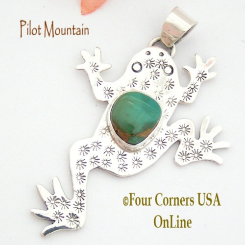Pilot Mountain Turquoise Sterling Frog F.r.o.g. Pendant Navajo Artisan Tony Garcia On Sale Now NAP-1524 Four Corners USA OnLine Native American Silver TQ Jewelry
