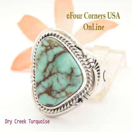 Size 9 3/4 Dry Creek Turquoise Ring Navajo Artisan John Nelson NAR-1627 Four Corners USA OnLine Native American Jewelry