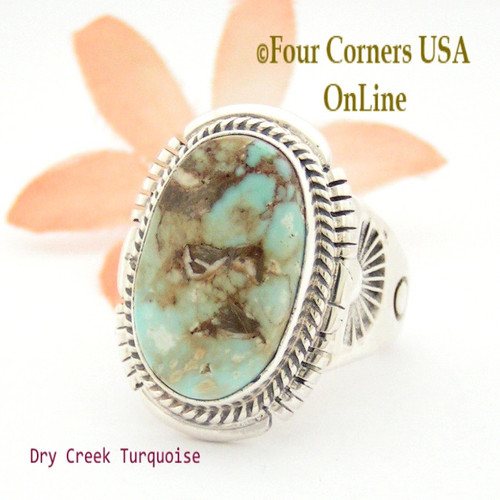 Size 9 3/4 Dry Creek Turquoise Ring Navajo Artisan John Nelson NAR-1628 Four Corners USA OnLine Native American Jewelry
