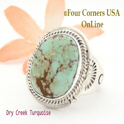 Size 9 3/4 Dry Creek Turquoise Ring Navajo Artisan John Nelson NAR-1629 Four Corners USA OnLine Native American Jewelry