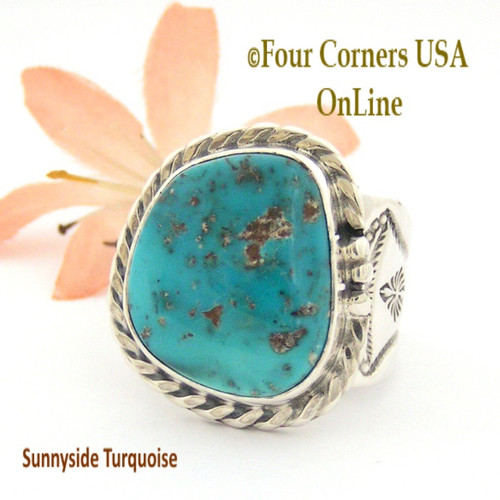 Size 11 3/4 Sunnyside Turquoise Sterling Ring Navajo Artisan Freddy Charley NAR-1636 On Sale Now at Four Corners USA OnLine Native American Jewelry