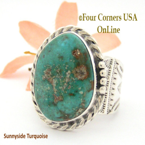 Size 13 1/2 Sunnyside Turquoise Sterling Ring Navajo Artisan Freddy Charley NAR-1637 On Sale Now at Four Corners USA OnLine Native American Jewelry