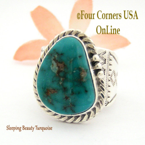 Size 11 Sleeping Beauty Turquoise Sterling Ring Navajo Artisan Freddy Charley NAR-1642 Four Corners USA OnLine Native American Jewelry