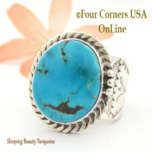 Size 11 3/4 Sleeping Beauty Turquoise Sterling Ring Navajo Artisan Freddy Charley NAR-1644 Four Corners USA OnLine Native American Jewelry