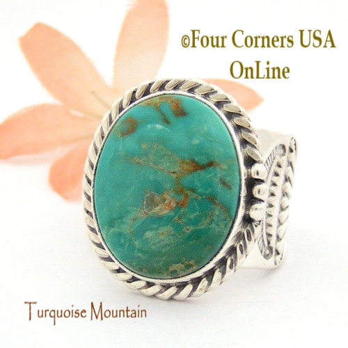 Size 12 1/2 Turquoise Mountain Turquoise Sterling Ring Navajo Artisan Freddy Charley NAR-1645 Four Corners USA OnLine Native American Jewelry
