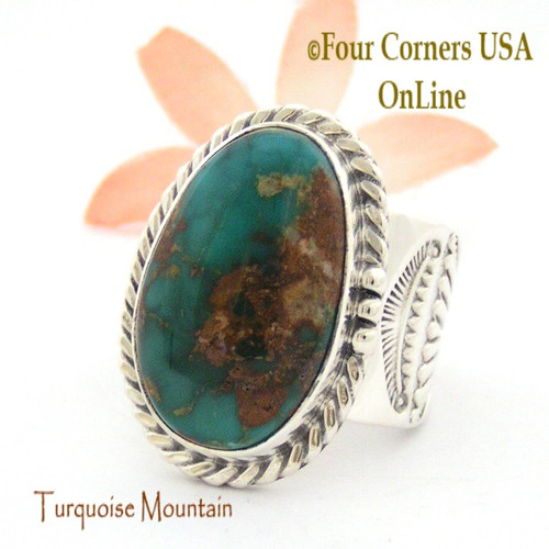 Size 12 3/4 Turquoise Mountain Turquoise Sterling Ring Navajo Artisan Freddy Charley NAR-1646 Four Corners USA OnLine Native American Jewelry