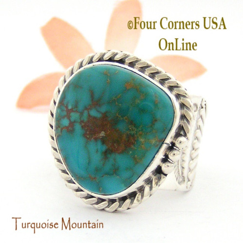 Size 13 Turquoise Mountain Turquoise Sterling Ring Navajo Artisan Freddy Charley NAR-1647 Four Corners USA OnLine Native American Jewelry