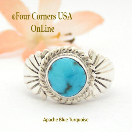 Size 9 Apache Blue Turquoise Silver Ring Navajo Artisan Wilson Padilla NAR-1648 Four Corners USA Online Native American Jewelry