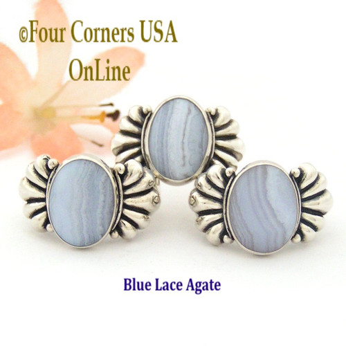 Size 6 to 10 Blue Lace Agate Sterling Ring Southwest Spirit Silver Jewelry Collection Closeout Final Sale FCR-1485 Four Corners USA OnLine