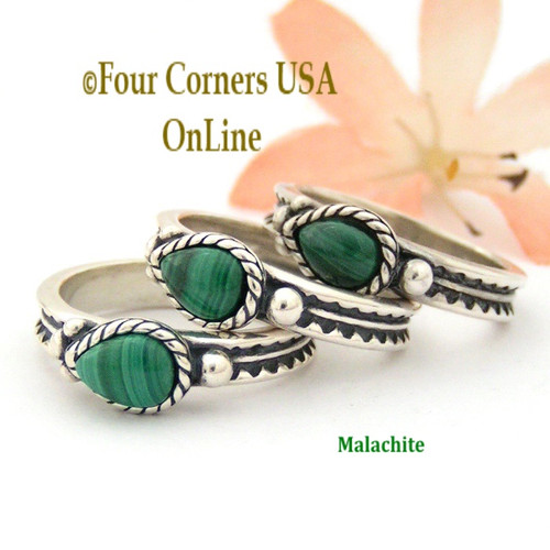 Size 8 Teardrop Malachite Silver Ring Southwest Spirit Silver Jewelry Collection FCR-1486 Closeout Final Sale Four Corners USA OnLine