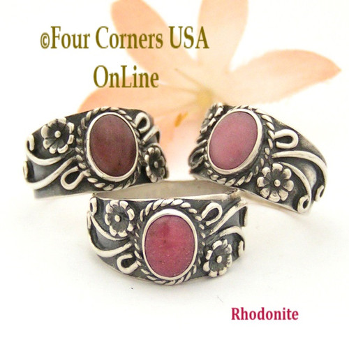 Size 5 to 9 Rhodonite Sterling Silver Ring Southwest Romance Collection FCR-1487 Closeout Final Sale Four Corners USA OnLine