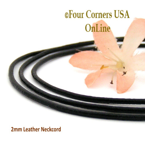 2mm Black 16 Inch Leather Sterling Silver Necklace Cord FCN-1502-16 Four Corners USA OnLine