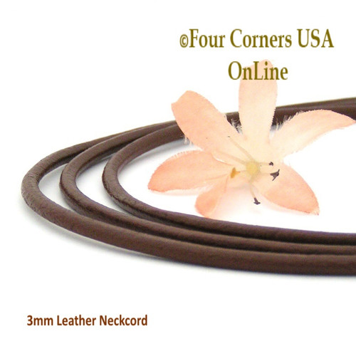 3mm Brown 20 Inch Leather Sterling Silver Necklace Cord FCN-1501-20 Four Corners USA OnLine