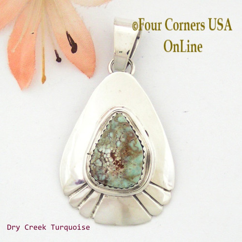 Teardrop Dry Creek Turquoise Sterling Pendant Navajo Artisan Alice Johnson NAP-1557 Four Corners USA OnLine Native American Jewelry