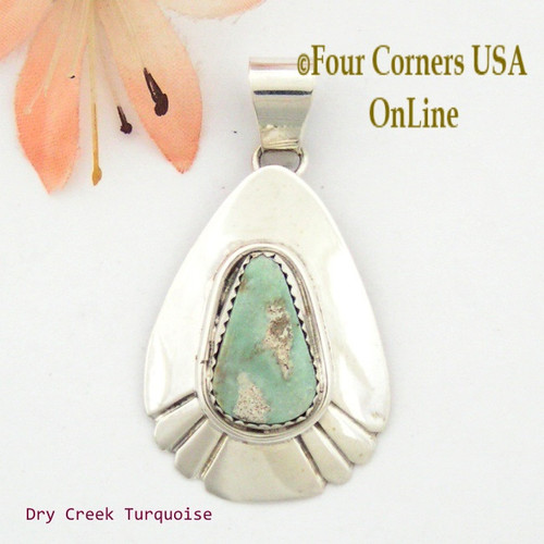 Teardrop Dry Creek Turquoise Sterling Pendant Navajo Artisan Alice Johnson NAP-1558 Four Corners USA OnLine Native American Jewelry
